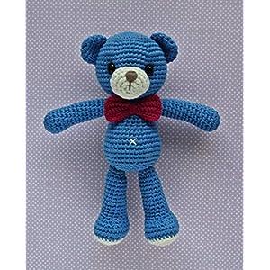 Häkeltier Teddy Theo blau aus Baumwolle