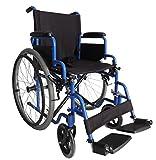 FoxHunter Self Propelled Folding Lightweight Transit Wheelchair With Armrest Footrest Brake Blue New