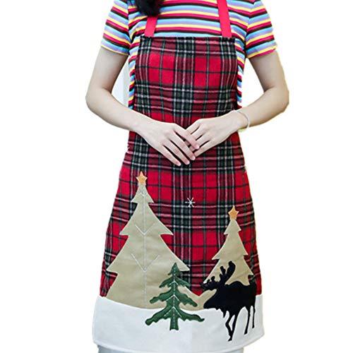 Kostüm Chef Erwachsene Plus Für - Blackflame Schürze aus Baumwolle mit rotem Leinen Karomuster Elch Schürze für Erwachsene Weihnachtsmann Schürze Schürze Küche Schürze zum Kochen Verpacken Weihnachten Dekoration rot