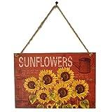 Demino Retro Sonnenblumen Brief hölzerne Tafel-Wand-Dekor-hängende Anhänger Zeichen-Brett für Heim Plank Dekoration