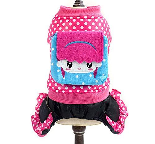 smalllee Lucky Store Polka Dot mit Kapuze Winter Fell und Pants Set für kleine Hunde/Katzen Set, 2x große, (Kostümen Polka Dot)