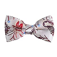DBD7B08A White Designer Goods Patterned Management Stain Pre-Tied Bow Tie Cheap For Groomsmen By Dan Smith