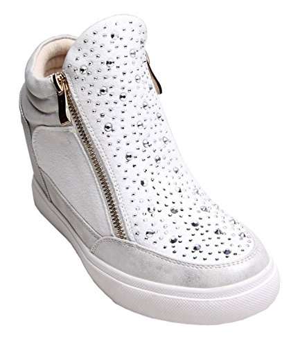Womens Mesdames Diamante formateurs Chaussures Cales or Zip Baskets Casual Talon Zip Blanc - blanc