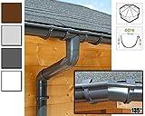 Dachrinnen/ Regenrinnen Set | achteckiges Dach (8 Seiten) | GD16 | in anthrazit, weiß, braun oder grau! (Umriss bis 14.00 m (Kompl. Set), Anthrazit)