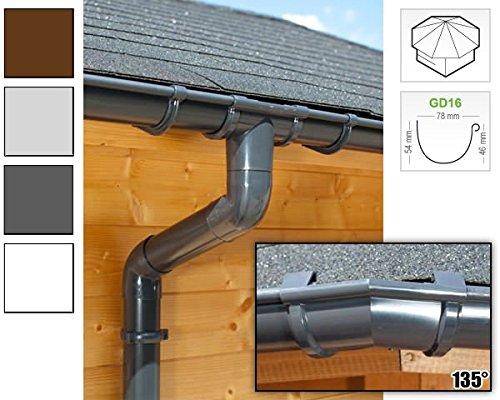 Dachrinnen/Regenrinnen Set | achteckiges Dach (8 Seiten) | GD16 | in anthrazit, weiß, braun oder grau! (Umriss bis 14.00 m (Kompl. Set), Anthrazit)