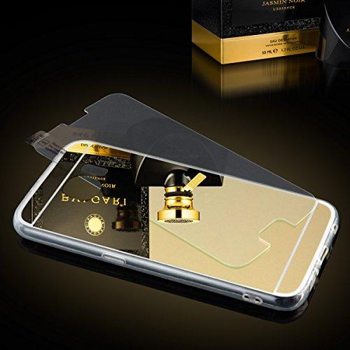 EGO® Luxus TPU Silikon Spiegel Schutz Hülle Back Case mit Panzerglas für Huawei P8 Lite Kupfer Handy Cover mit Glanz Mirror spiegelnd, dünn und elastisch Gold + Glas