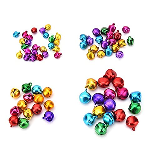 SevenMye Mix Color 200 Pcs Mini Jingle Bells 8mm for Christmas,Wedding Decoration,Pet Ornament and Crafts,Sewing,Knitting,Jewelry