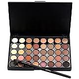 Hilai cosmetico opaco crema trucco palette di ombretti Shimmer-Set 40colori + spazzola set + Fishtail inferiore (a)