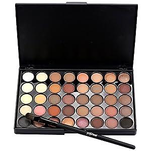 Hilai Cosmetic – Paleta de maquillaje de sombra de ojos mate con 40 colores + juego de brochas + cepillo inferior de cola de pez (A)