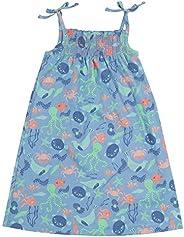 Piccalilly Vestido de verano para niñas, suave, algodón orgánico, sin mangas, con correas, color azul