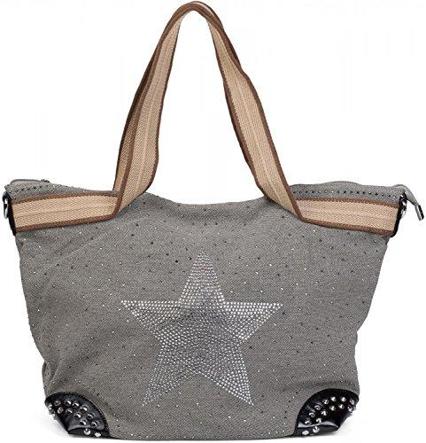 styleBREAKER Handtasche in Canvas Optik mit Strass Stern und Nieten, Schultertasche, Damen 02012066, Farbe:Hellgrau -