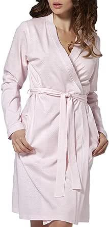 Vilfram - Vestaglia Donna a Manica Lunga Grigio Perla 100% Cotone Tessuto micropois con Tasche Laterali, Cintura in Vita - Accappatoio Pigiama da Notte per Hotel Spa Nozze