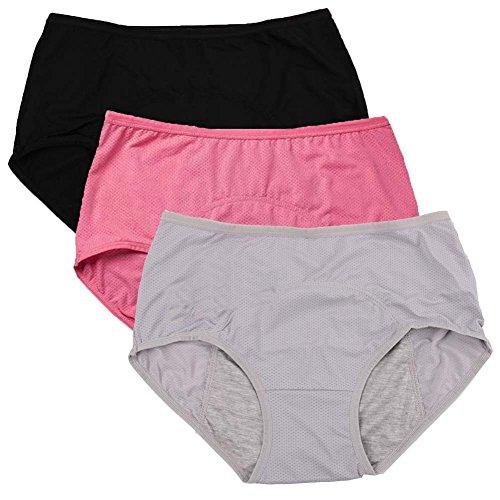 YOYI FASHION Damen-Slip, Netzlöcher, auslaufsicher, zufällige Farbe, 3 Packungen - - US Größe X-Small/Small -