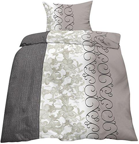 2 tlg. Biber Baumwolle Winter Bettwäsche ,135x200 + 80x80 mit Reißverschuss in Anthrazit Grau Ranken / Winterbettwäsche Home-Impression