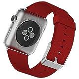 JETech Ersatz Uhrenarmband für Apple Watch 38mm Series 1 2 3, Leder Edelstahlverschluss Metallverschluss Armband, Rot