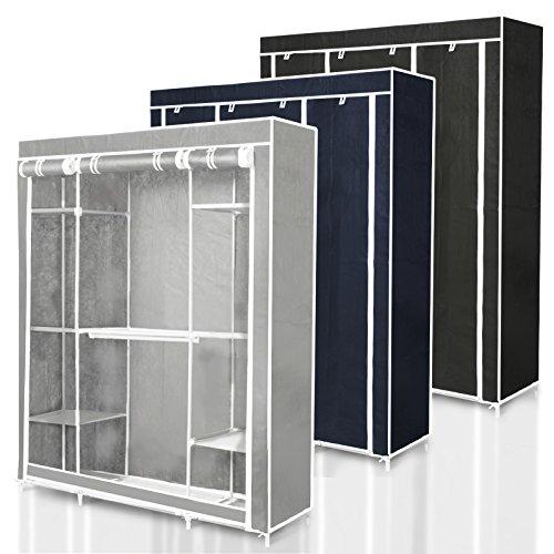 Stoffschrank Bruno | stabiler Faltschrank mit riesigem Stauraum | 210 x 150 x 46 cm (H x B x T) | Lieferbar in 3 Farben (dunkelblau)