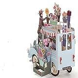 3D Pop up Auto of Flower Grußkarten Happy Anniversary Geburtstag Einladungen