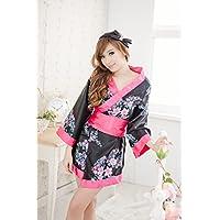 MQZM bella biancheria intima Donna biancheria intima sexy modificato rarità kimono tre grande arco della cinghia del gruppo di stampa,Ting Sakura,entrambi