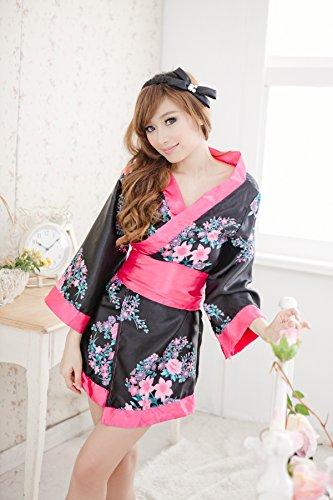 SQZH-Donna biancheria intima sexy modificato rarità kimono tre grande arco della cinghia del gruppo di stampa,Fiore di Ciliegio 2,entrambi