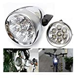 Shsyue Bicycle Front Headlight Bike Lamp, 7 White LEDs, Retro Design, ON /