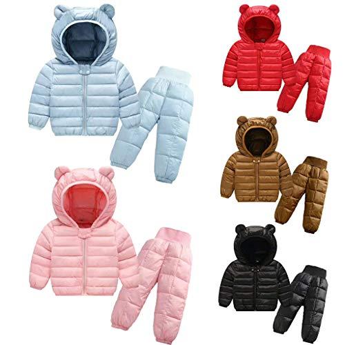 Unisex Tuta da Sci per Bambino Piumino Giacca con Cappuccio Ragazze Ragazzi Invernale Snowsuit Snowboard Piumino Leggero Giacche e Pantaloni Completo da Neve 2 Pezzi,0-4 Anni