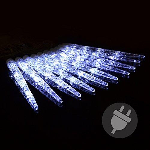 Eiszapfen-lichterkette (Nipach GmbH 40er LED Eiszapfenkette Lichterkette Leuchtfarbe weiß mit 8 Funktionen für Außen Trafo transparentes Kabel Weihnachtsbeleuchtung Xmas)