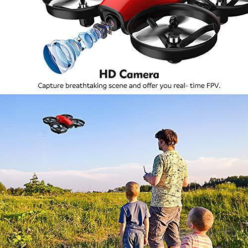 Potensic Drone con Telecamera HD Mini Drone Telecomando A30W Quadricottero WiFi modalità Senza Testa, Adatto per Principianti, Buon Regalo per Bambini (Rosso) - 6