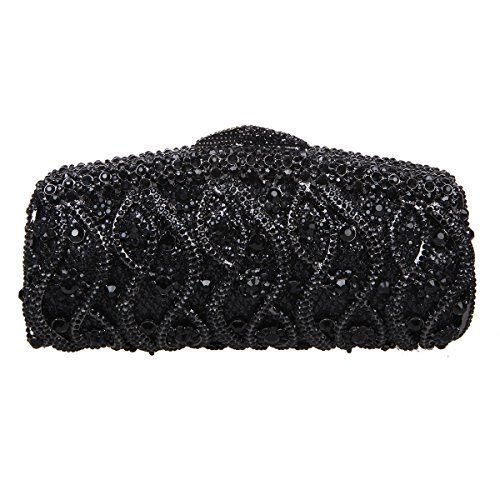 Bonjanvye Bling Twisted Studded Pattern Purses Clutches and Evening Bags for Women Black Black