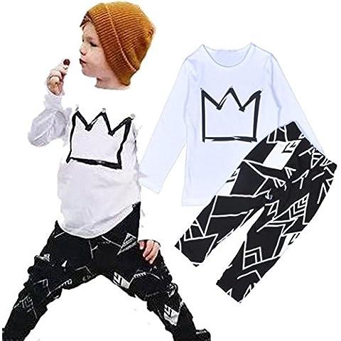 Amlaiworld Bebé de manga larga camiseta de la impresión de las tapas + pantalones Trajes Set