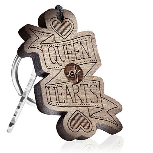 Holzschlüsselanhänger - Queen of Hearts