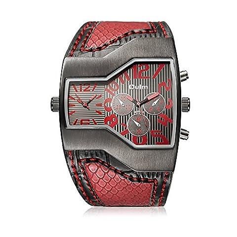 Hongboom Rouge Bande de cuir véritable de deux mouvements montre bracelet Homme décontracté Entreprise montres à quartz analogique Mode Robe Montre-bracelet