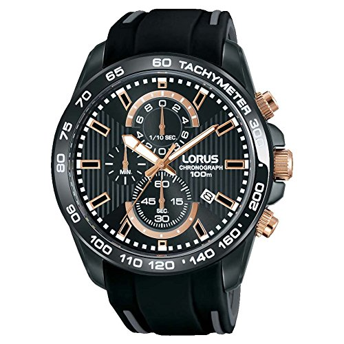 Lorus Mens Chronograph Quartz Watch with Silicone Strap RM317DX9