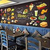 Personalisierte Tafel Graffiti Essen Wandbild Tapete Kuchen Shop Cafe Hamburger Shop Restaurant Fototapete Wandverkleidung 3D, 430 * 300 cm