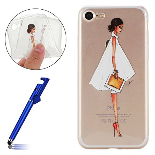 Cover per iPhone 7 4.7, Custodia iphone 8, iphone 8 Custodia Silicone, MoreChioce Moda Funny Cute Fiore Animal Painting Colorato Custodia, Ultra Slim 3d Gel Soft Silicone Gomma Morbido TPU Trasparente Office Girl