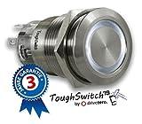 .drivezero. ToughSwitch '19 – Schalter Edelstahl (bis 230V / 5A) mit LED-Leuchtring Kaltweiss 230V, staub- und wasserdicht (IP67)