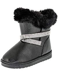 29b3fa5a72aa8f Gefütterte Mädchen Stiefel Stiefeletten Winter Schuhe mit Strass und Fell