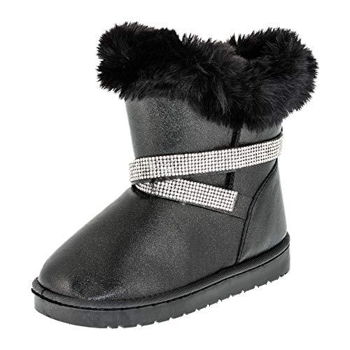 Gefütterte Mädchen Stiefel Stiefeletten Winter Schuhe mit Strass und Fell M499sw Schwarz 25 EU