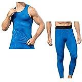 QinMM Hommes Gilet + Pantalons Vêtements Ensembles de sport, Texture de Serpent 3D Impression Chemise Séchage Respirant élasticité Yoga Leggings Fitness Gym Sportswear (Medium, Pantalons-Bleu)