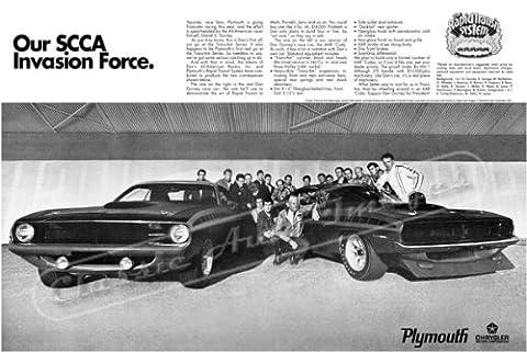 Classique et musculaire ADS et voiture Art 1970Plymouth Cuda AAR 'de AD numérique & re-mastered voiture Poster imprimé «Notre SCCA Invasion Force