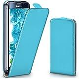 Pochette OneFlow pour Samsung Galaxy S7 Edge housse Cover magnétique | Flip Case étui housse téléphone portable à rabat | Pochette téléphone portable téléphone portable protection bumper housse de protection avec coque en AQUA-CYAN