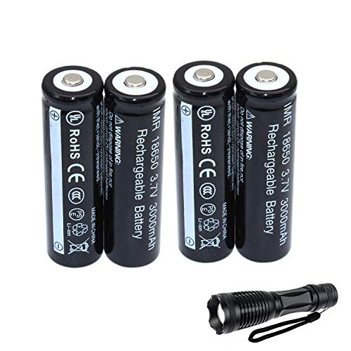 4-Pack 18650 3.7V recargable Li-ion Batería + Linterna LED Kit