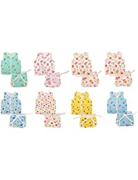 FARETO Baby Boy's and Girl's Cotton Clothing Set (0-3 Months, Multicolour) -Set of 8