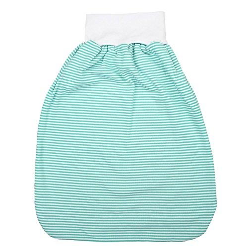 TupTam Unisex Baby Strampelsack mit Breitem Bund Unwattiert, Farbe: Streifenmuster Grün, Größe: 0-6 Monate