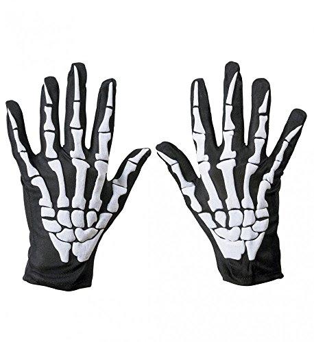 shoperama Skelett Handschuhe für Erwachsene Hände Finger Knochen Halloween Damen Herren