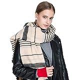 TianWlio Frauen Schals Frauen Neue Lässige gestreifte Winter warme Pashmina Schal weichen Halstuch