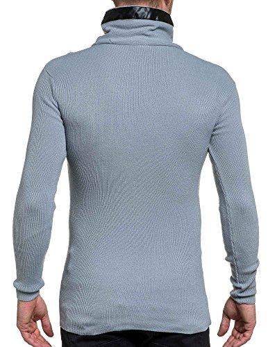 BLZ jeans - Pullover homme côtelé col châle montant gris clair Gris