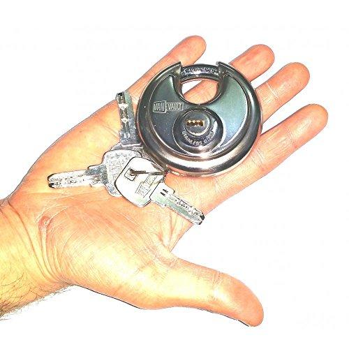 Lock Security Round Disc Vanvault S10029 Heavy Duty Padlock 3 Keys 70mm Protection by Van Vault