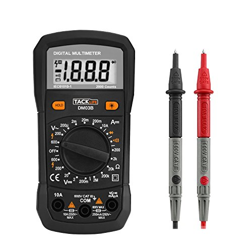 Tacklife -DM03B- Multímetro Digital 2000 counts rango automático, Polimetro Amperimetro Voltímetro Ohmímetro DMM para medir corriente AC/DC, Multi Tester con retroiluminación LCD