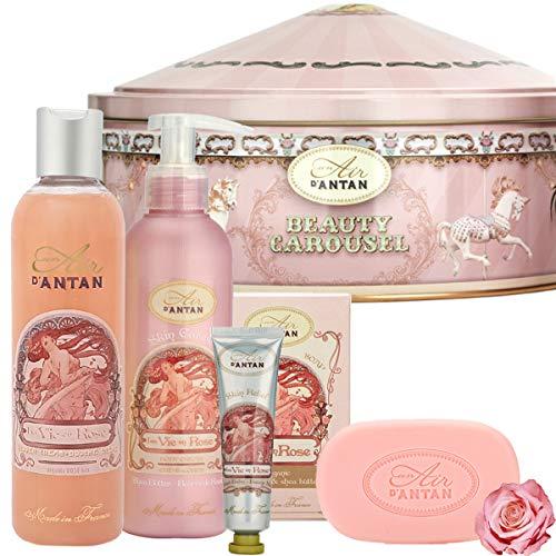 Un Air d\'Antan® Französisches Beauty Set ROSE mit Bio Rose Weihnachtsgeschenk. 1 Handcreme 25ml + 1 Seife 100g + 1 Duschgel 250ml + 1 Bodylotion 200ml in einem Vintage Metallbox. Duft: Rose, Pfirsich