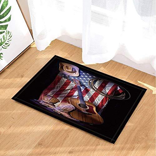 SRJ2018 Amerikanische Flagge Western Cowboy-Hut Cowboystiefel Gitarre und Seil Super saugfähig, Rutschfeste Matte oder Fußmatte, weich und bequem